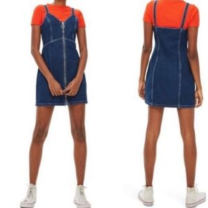 Topshop Sleeveless Zip Front Denim Dress